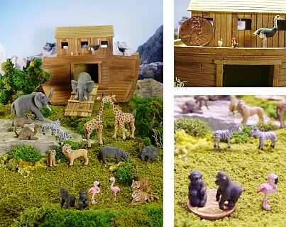 Hand carved wood miniature Noah's Ark