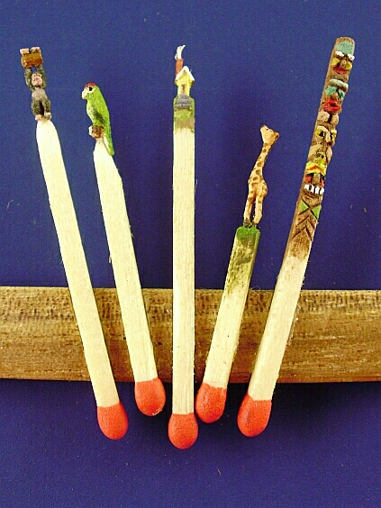 Hand carved hand painted match sticks