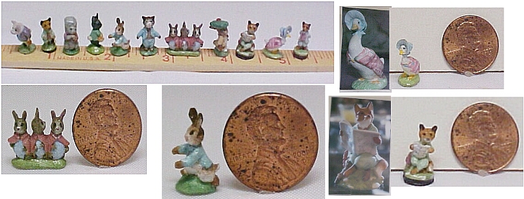 hand carved wood miniature Beatrix Potter figurines.