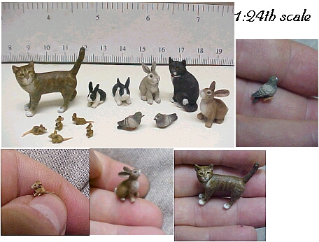 hand carved wood custom dollhouse half scale animals