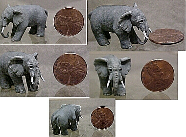 hand carved wood miniature elephant