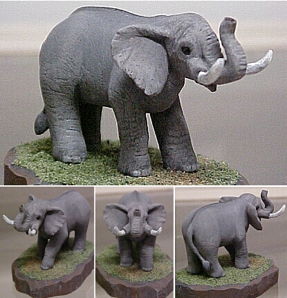 hand carved hand painted wood elephant.