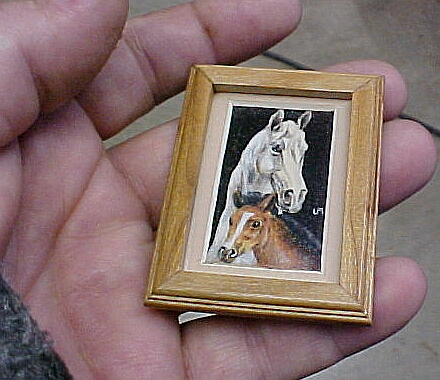 matted framed miniature dollhouse art