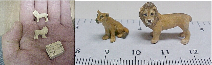 hand carved hand painted wood miniature 1:144 scale lions.