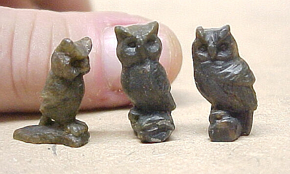 hand carved miniature stone owls